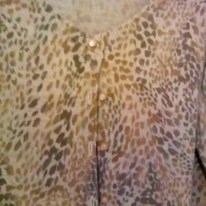 🎈East 5th Leopard Cardigan Pearl Buttons size S
